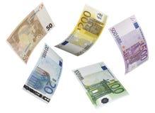 在白色隔绝的欧洲票据拼贴画 免版税库存图片