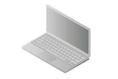 在白色隔绝的正面图等量膝上型计算机 库存图片