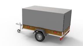 在白色隔绝的汽车拖车 库存例证