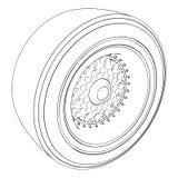 在白色隔绝的汽车轮子 向量 库存例证
