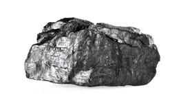 在白色隔绝的煤炭片断 库存图片