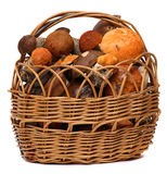 在白色隔绝的狂放的蘑菇篮子  免版税库存照片