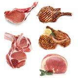 在白色隔绝的猪肉煮熟的和未煮过 免版税库存照片