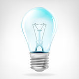 在白色隔绝的现实蓝色电灯泡对象 库存照片