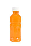 在白色隔绝的瓶的橙汁 免版税图库摄影