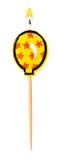 在白色隔绝的生日灼烧的蜡烛气球 图库摄影