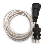 在白色隔绝的电外延电缆 免版税库存图片