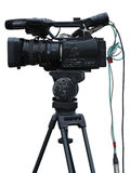 在白色隔绝的电视专业演播室数字式摄象机 库存图片