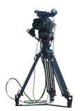 在白色隔绝的电视专业演播室数字式摄象机 库存照片