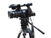 在白色隔绝的电视专业演播室数字式摄象机 免版税库存图片