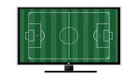 在白色隔绝的电视概念的足球 库存照片