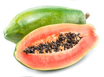 在白色隔绝的番木瓜果子 图库摄影
