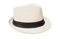 在白色隔绝的白色巴拿马草帽 免版税图库摄影