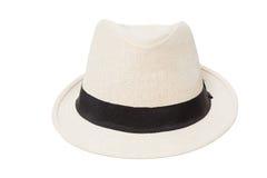 在白色隔绝的白色巴拿马草帽 库存图片