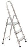 在白色隔绝的短的折叠梯子 库存照片