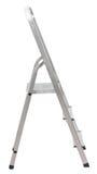 在白色隔绝的短的金属梯子 免版税库存照片