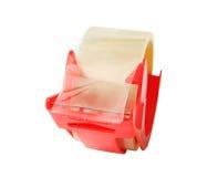 在白色隔绝的稠粘或透明胶带 免版税库存照片