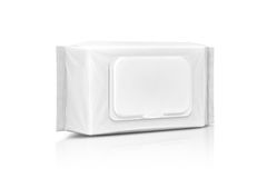 在白色隔绝的空白的包装的纸湿抹囊 图库摄影