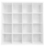 在白色隔绝的空的书架或商店机架 免版税图库摄影