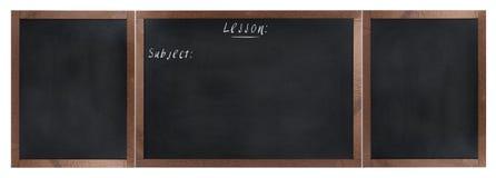 在白色隔绝的空的学校黑板 免版税库存照片
