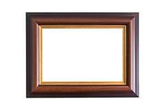 在白色隔绝的空的木照片框架 条款背景装饰内部小的种类白色 库存图片