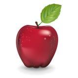 在白色隔绝的简单的红色苹果 库存图片