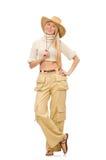 在白色隔绝的米黄长裤的俏丽的妇女 图库摄影