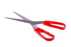 在白色隔绝的红色剪刀 库存照片