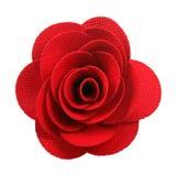 在白色隔绝的红色布料玫瑰 库存图片