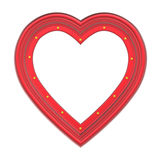 在白色隔绝的红色心脏画框 免版税库存照片