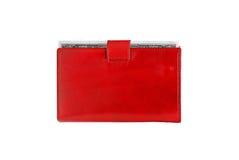 在白色隔绝的红色皮革钱包的美元 库存照片