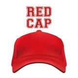 在白色隔绝的红色盖帽 向量 免版税库存照片