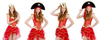 在白色隔绝的红色礼服的女王/王后 库存图片