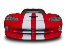 在白色隔绝的红色肌肉汽车 免版税库存图片