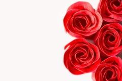 在白色隔绝的红色肥皂玫瑰 库存照片