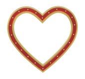 在白色隔绝的红色金心脏画框 库存例证