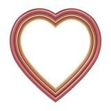 在白色隔绝的红色金心脏画框 向量例证