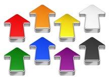 在白色隔绝的红色,绿色,蓝色,黄色,黑,橙色,紫色3D箭头的汇集 库存图片
