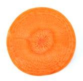 在白色隔绝的红萝卜切片 免版税库存照片