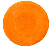 在白色隔绝的红萝卜切片 图库摄影