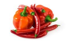 在白色隔绝的红辣椒的小组 库存照片