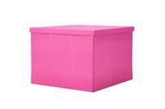在白色隔绝的纸桃红色礼物盒 库存照片