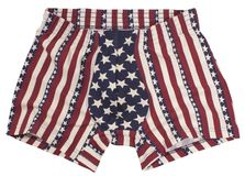 在白色隔绝的美国国旗男性裤子 免版税库存图片