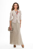 在白色隔绝的美好的女商人时装模特儿。充分的s 库存照片