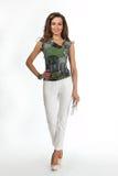 在白色隔绝的美好的女商人时装模特儿,白色 库存照片