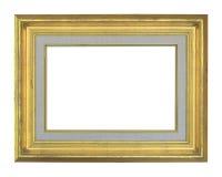 在白色隔绝的老古色古香的金框架 库存照片