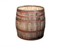 在白色隔绝的老木桶 免版税库存图片