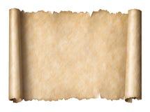 在白色隔绝的老纸manusript纸卷水平地针对 免版税库存照片