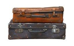 在白色隔绝的老葡萄酒旅行手提箱 免版税库存图片