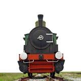 在白色隔绝的老蒸汽引擎活动火车 免版税图库摄影